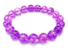 AAA紫クラック水晶10mm数珠ブレスレット浄化開運