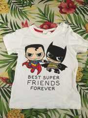 H&M☆スーパーマン&バットマンTシャツ☆白☆80