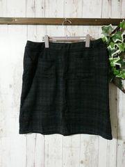 極美*裏シャギー膝丈スカート*3L4L*濃緑*防寒スカート