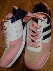 新品?ピンク×パープル×ホワイト☆ピンク紐スニーカー☆24�p?送料400円