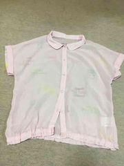 ジェニィ*透け素材シャツ*ハート型ボタン、130、2回着用