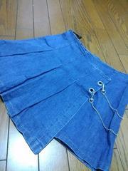 美品★チェーン付『巻きスカート型Gプリーツミニスカート』=64