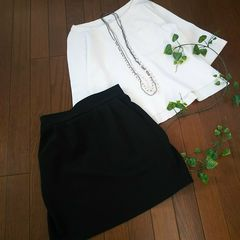 〇NICE CLAUP〇ジャージ素材のリブスカート*・゜美品