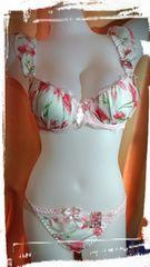 即決♪C75/M pinkブラジャーショーツセット cherryカラー花柄 メイド Cute