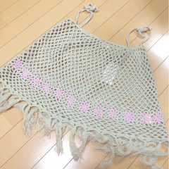 新品◆透かし編みフリンジニットポンチョ◆お花◆130