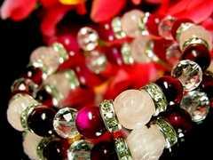 バラ彫ローズクォーツ10ミリ§ピンクタイガーアイ§ダイヤカット水晶8ミリ§銀ロンデル