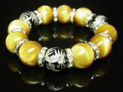 特大16ミリ数珠 銀彫皇帝龍オニキス×ゴールデンタイガーアイブレスレット