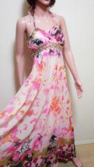 新品タグ付ageha…胸元ビジュ盛�Aしふぉん柄ドレス☆3点で即落