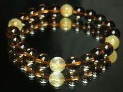 高級感溢れるデザイン!!ゴールドルチル×スモーキークォーツ8mm数珠ブレス