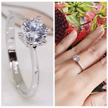 指輪 18KRGPプラチナ高級CZ一粒王冠リングyu1035e