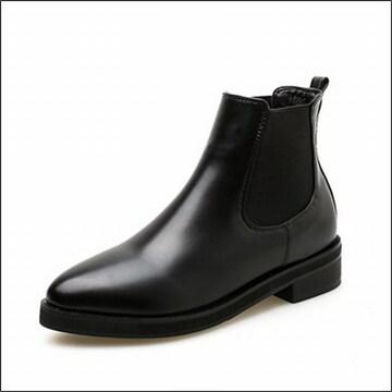 新品大きいサイズレザー調レディース*ショートブーツ黒ブラック*24.5〜25cm