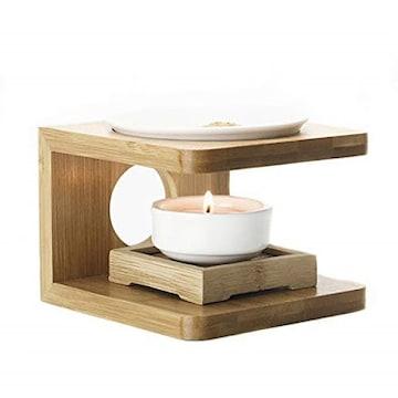 色ナチュラルウッド HAMILO 茶香炉 アロマ 香皿 ろうそく 竹製台