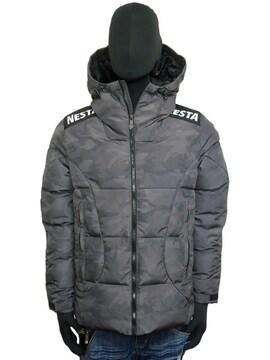 新品193NB1703ネスタ カモ柄撥水スケーター中綿ジャケット黒M
