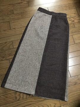 新品ローズバッド バイカラーIラインツイードロングスカート
