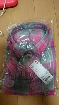 大きいサイズUNIQLOユニクロ3Xピンクフランネルチエックシャツ新品タグ付き