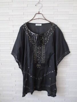 即決/i.choice/スパンコール刺繍綿薄手チュニックブラウス/黒M-L