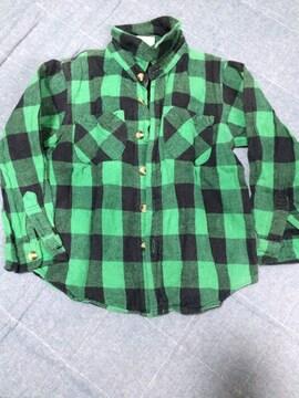 100センチチェック柄ネルシャツ!グリーン
