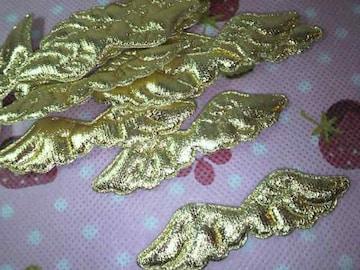 天使の羽根モチーフ金色10枚エンジェルデコに75×20mm