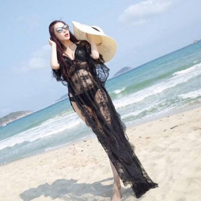 黒の美魔女ビーチカバー < 女性ファッションの