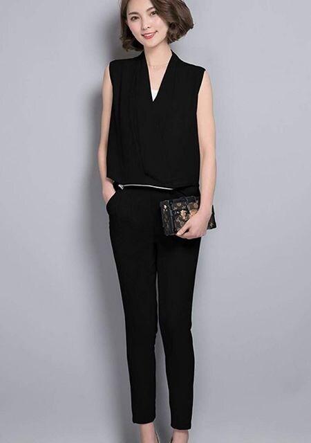 オールインワン パンツドレス (M寸・黒) < 女性ファッションの