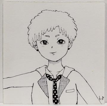 オリジナルイラスト手描きイラスト ドットタイの女の子ハンドメイド自作原画絵モノクロアート