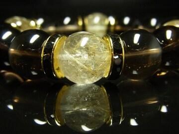 金針水晶タイチンルチル 茶水晶スモーキークォーツブレスレット 最強金運石