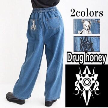 【新品/Drug honey】ロゴマーク刺繍入デニムワイドパンツ
