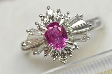 Pt900 ピンクサファイア ダイヤモンドリング 12号 指輪