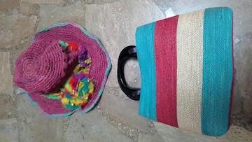 新品未使用・アミナ・帽子&バッグ・セット・アジアンエスニック