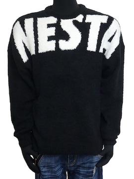 新品ネスタ193NB1400オーバーサイズロゴモールニット黒M