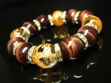 金彫四神獣本水晶×レッドタイガーアイブレスレット 16ミリ天然石数珠
