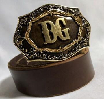 正規良 限定 ドルチェ&ガッバーナ アンティークDGロゴバックルベルト 茶×ゴールド 85