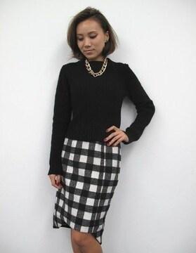 即完売★エゴイスト★ブロックチェックミディスカート ブラック×ホワイト/M 新品 EGOIST