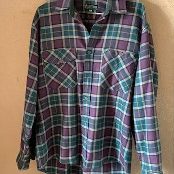 紫青カジュアルチェックシャツ☆サイズ LL