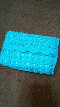 レース編みのポケットティッシュケース(水色)
