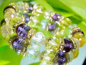 128面カットアメトリン§64面カットレインボー水晶10ミリ金ロンデル数珠