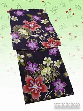 【和の志】洗える着物◇単衣Lサイズ◇渋紫系・桜・牡丹◇165