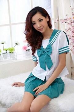 リボンが可愛いミニスカセーラー服コス グリーン