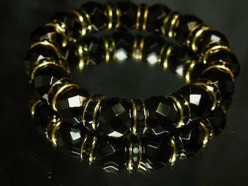 オラオラ系アイテム??ダイヤカットオニキス12mm数珠ブレスレット