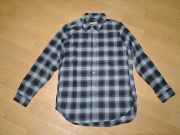 新品ナノユニバースnano・universeチェックシャツS灰黒長袖
