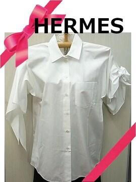 正規品☆エルメス コットン素材 白 リボン ブラウス シャツ 34 M★dot