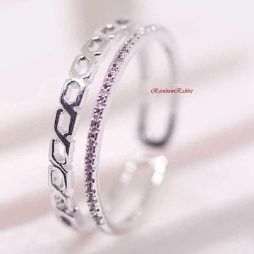 指輪 18K RGP インフィニティ ハーフ エタニティ リング yu1111e