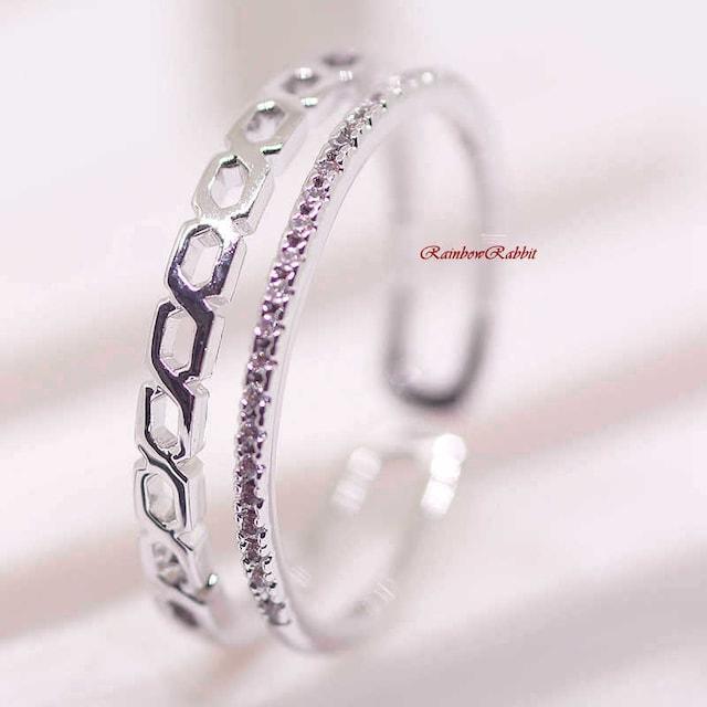 指輪 18K RGP インフィニティ ハーフ エタニティ リング yu1111e  < 女性アクセサリー/時計の