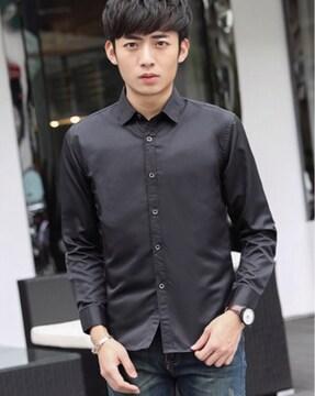 新品 メンズ Yシャツ 光沢 ブラック XLサイズ