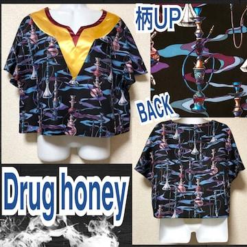 【新品/Drug honey】快楽迷彩水煙草柄サテン切替カットソー