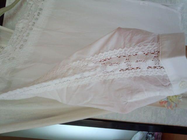 袖 胸元編みレース ホワイト < 女性ファッションの