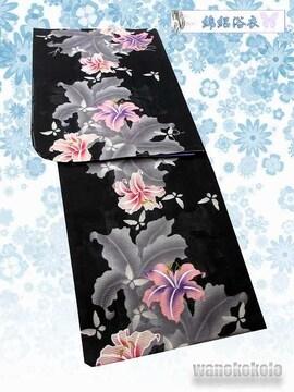 【和の志】女性用浴衣◇綿絽◇Fサイズ◇黒系・百合・蝶◇15