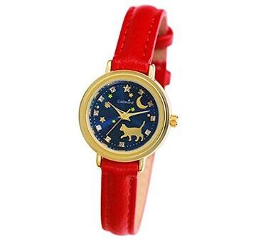 猫の腕時計 「夜のお散歩」レッド