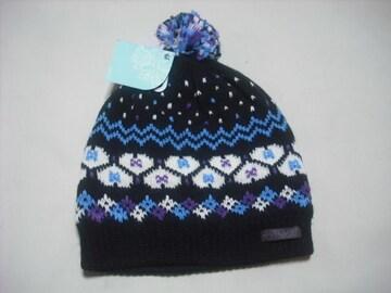 wb418 女 RIP CURL リップカール ボンボン付き ニット帽 柄