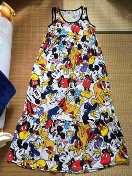 ディズニー・ミッキー&フレンズ柄マキシ丈タンクワンピース